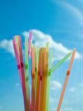 Cocktail Straws. A variety of coctail straws against the sky Stock Image