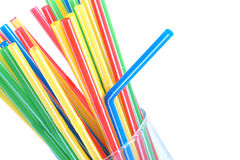 Cocktail straws in glass royalty free stock image
