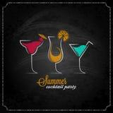 Cocktail summer party chalk design menu background stock illustration