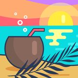 Cocktail and Sunset Beach Vector Illustration Stock Photos