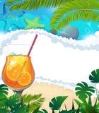 Cocktail sur le fond tropical Photo libre de droits
