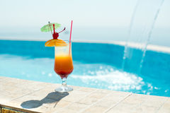 Cocktail in the swimming pool. At the sea Royalty Free Stock Image