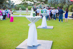 Cocktail table with guest background Stock Photography