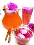 Cocktail tea drink with wild rose and cinnamon Royalty Free Stock Photos
