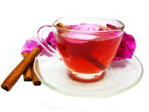 Cocktail tea drink with wild rose and cinnamon Stock Photo
