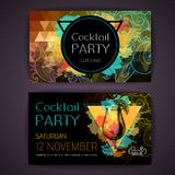 Cocktail tequila sunrise on artistic polygon watercolor background Royalty Free Stock Photo