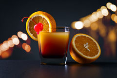 Cocktail Tequila sunrise with orange and cherry Stock Image