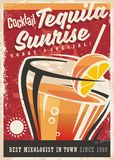 Cocktail tequila sunrise retro promotional poster. Design, Vintage art banner with one of the most popular cocktails on red background. Alcoholic drinks theme Royalty Free Stock Photography