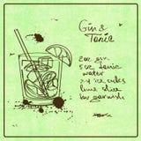Cocktail tiré par la main de genièvre et de tonique illustration stock
