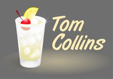 Cocktail Tom Collins. Fresh ice frozen alcoholic lemonade drink bar cocktails Tom Collins in good glass made with gin lemon juice sugar and carbonated freeze Stock Images