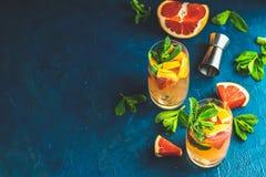 Cocktail tonique de genièvre de pamplemousse sur la surface foncée image libre de droits