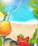 Cocktail on tropical background Royalty Free Stock Photography