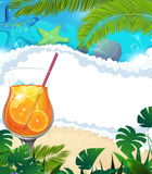 Cocktail on tropical background Royalty Free Stock Photo