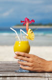 Cocktail on tropical beach Royalty Free Stock Photography