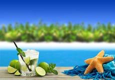 Cocktail in a tropical beach Stock Photos