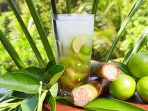 Cocktail tropical de Caipirinha avec la chaux et le Sugar Cane images stock