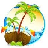 Cocktail tropical do coco ilustração stock