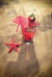 Cocktail tropical fresco na praia ensolarada Imagem de Stock