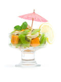 Cocktail of tropical fruits decorated mint Royalty Free Stock Image