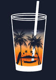 Cocktail with Tropical Scene in the Glass with Palm Trees , Hamm Royalty Free Stock Image