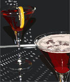 Cocktail. Two wineglasses with cocktail on the dark background Royalty Free Stock Image