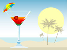 Cocktail with Umbrella, Cherry Stock Images