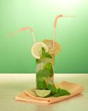 Cocktail, umbrella and lemon, mint, napkin Royalty Free Stock Images