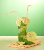 Cocktail, umbrella and lemon, mint Stock Images