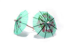 Cocktail umbrellas. On white background royalty free stock photography