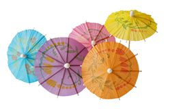 Cocktail Umbrellas. Multicolored Cocktail Umbrellas, spring and summer symbol,isolated on white background Stock Image
