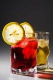 Cocktail, un limone e un ghiaccio Fotografia Stock Libera da Diritti
