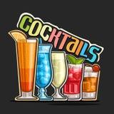 Cocktail in una fila illustrazione vettoriale