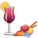 Cocktail und Eiscreme in einer Waffelschale in der Karikaturart lokalisiert auf weißem Hintergrund Stockbild