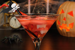 A cocktail with vampire teeth Royalty Free Stock Image