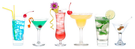 Cocktail variation row with alcohol Royalty Free Stock Images