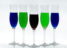 Cocktail with various drinks in glasses Royalty Free Stock Image