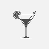 Cocktail vector icon. On grey background Royalty Free Stock Photo