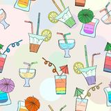 Cocktail vector illustration pattern. Party cocktail drinks vector illustration seamless pattern Stock Illustration