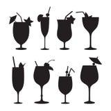 Cocktail vector silhouettes. Stock Photos