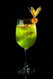Cocktail verde su fondo nero Fotografie Stock Libere da Diritti