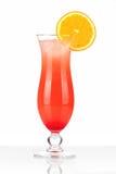 Cocktail vermelho com gelo e laranja Imagem de Stock Royalty Free
