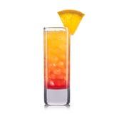 Cocktail vermelho do tiro com a laranja isolada no fundo branco fotografia de stock royalty free
