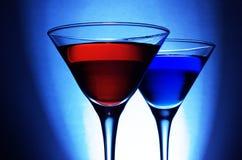 Cocktail vermelho e azul Fotografia de Stock Royalty Free