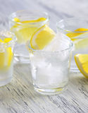 Cocktail with vodka and lemon. Vodka with ice. Stock Image