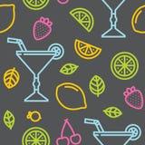 Cocktail, vruchten en bessen naadloos grijs vectorpatroon stock illustratie