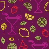 Cocktail, vruchten en bessen naadloos purper vectorpatroon stock illustratie
