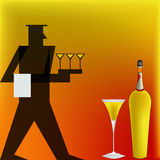 Cocktail Waiter, Deco style Poster Royalty Free Stock Image