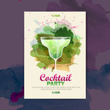 Cocktail watercolor disco poster Royalty Free Stock Image