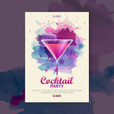 Cocktail watercolor disco poster Stock Photo