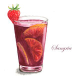 Cocktail watercolor illustration. Hand drawn watercolor illustration of summer fresh drinking Sangria. Isolated on the white background Vector Illustration